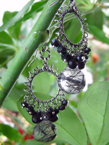 Tourmilated Quartz and Black Spinel Earrings
