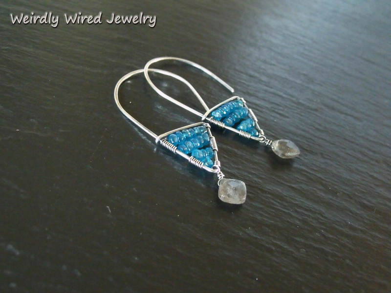 Triangle Sterling Apatite Labradorite Earrings