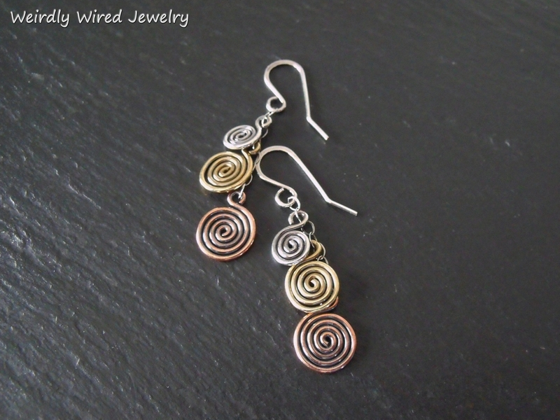 Triple Spiral 3 Metal Earrings