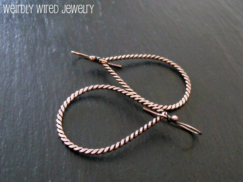 Twisted Copper Drop Earrings 2