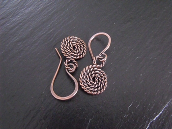 Twisted Spiral Copper Earrings
