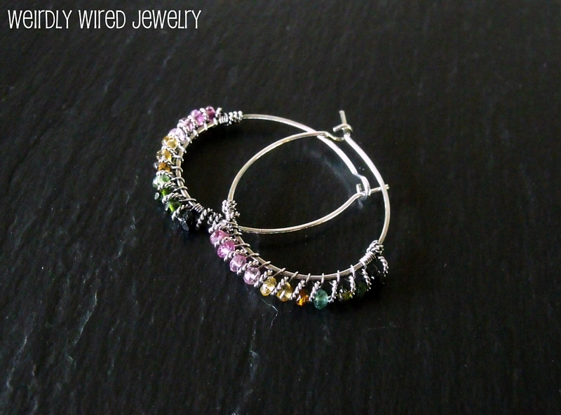 Twisted Wire and Rainbow Tourmaline Hoops