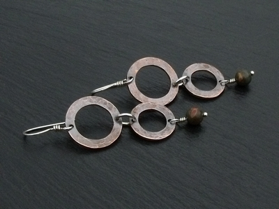 Two Hoop Copper and Picasso Jasper Earrings