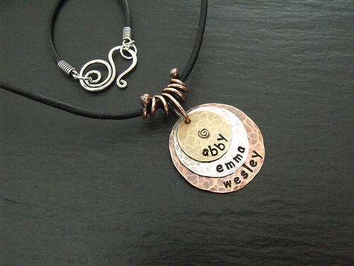 Mixed Metal Stamped Pendant-Coil Bail