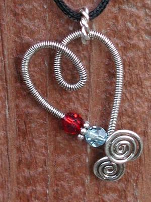 Coiled Heart Swarovski Birthstone Pendant