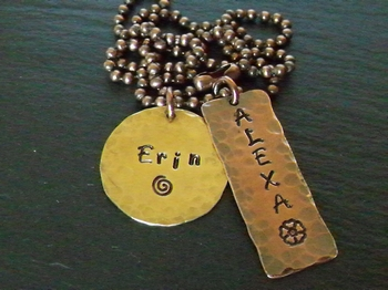 Brass round, Copper Tag Stamped Pendants
