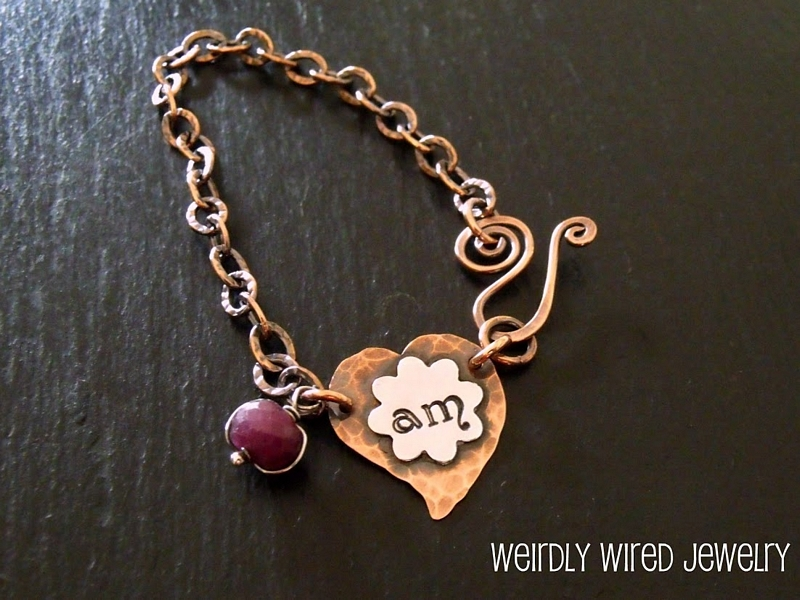 Heart and Flower Stamped Bracelet with Ruby