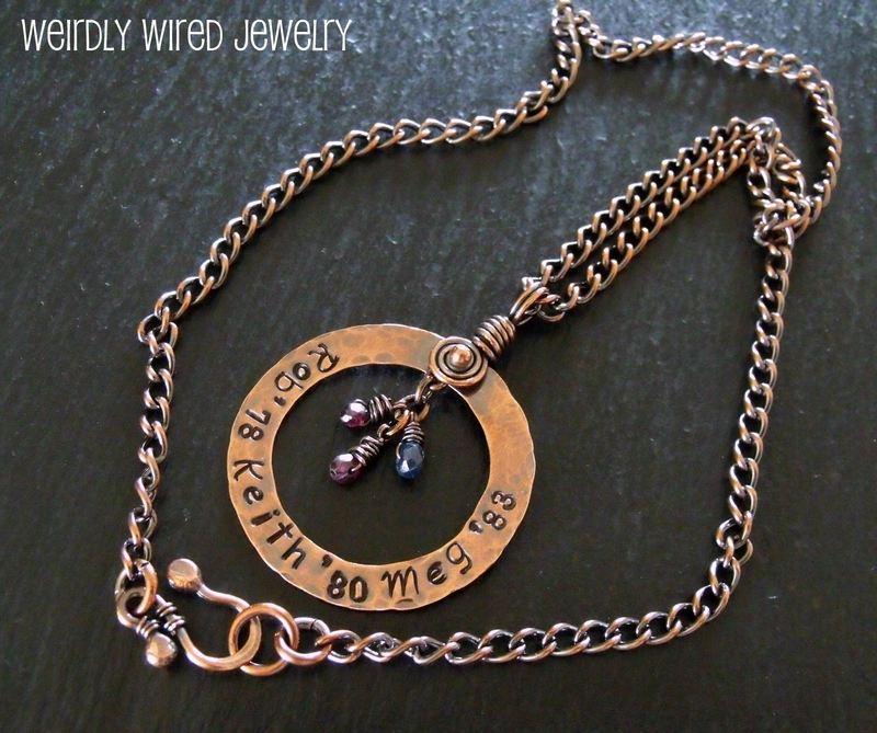 Stamped Copper Mother's Necklace with Birthstones