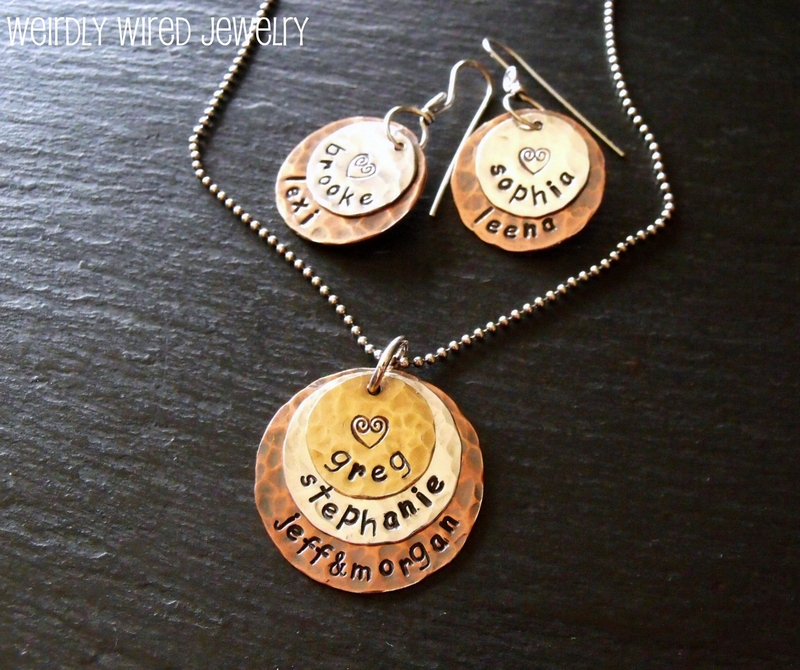 Stamped Necklace & Earrings Set