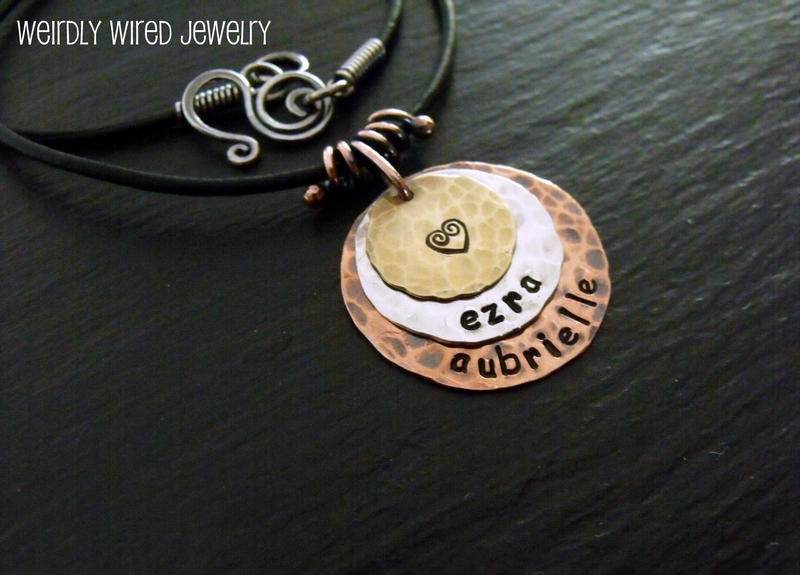 Custom Mother's Stamped Pendant Necklace
