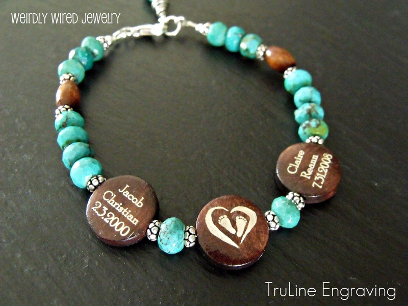Engraved Mother's Bracelet-Turquoise and Wood