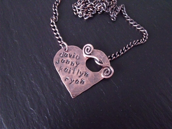 Four Names Stamped Heart Necklace