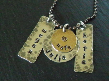 Four Name Stamped Mother's Necklace