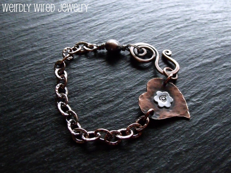 Stamped Copper Heart Bracelet