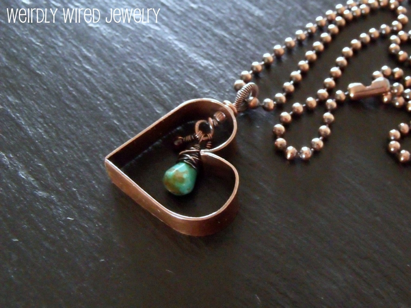 Hollow Copper Heart with Turquoise