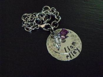 Stamped Charm Bracelet w/Swarovski