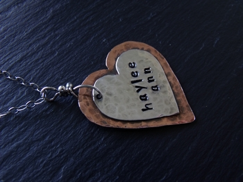 Mixed Metal Stamped Heart - Haylee Ann