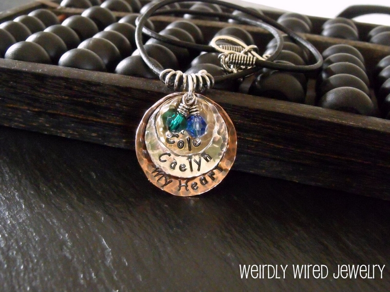 Stamped and Domed Mothers Necklace with Swarovski