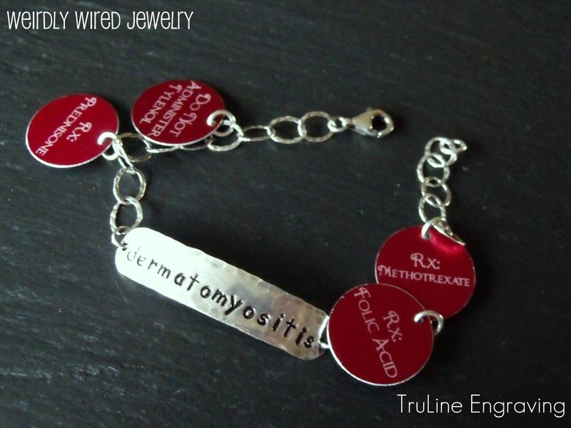 Medical Alert Stamped Charm Bracelet
