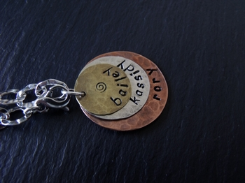 Three Metal Stamped Bracelet Charm