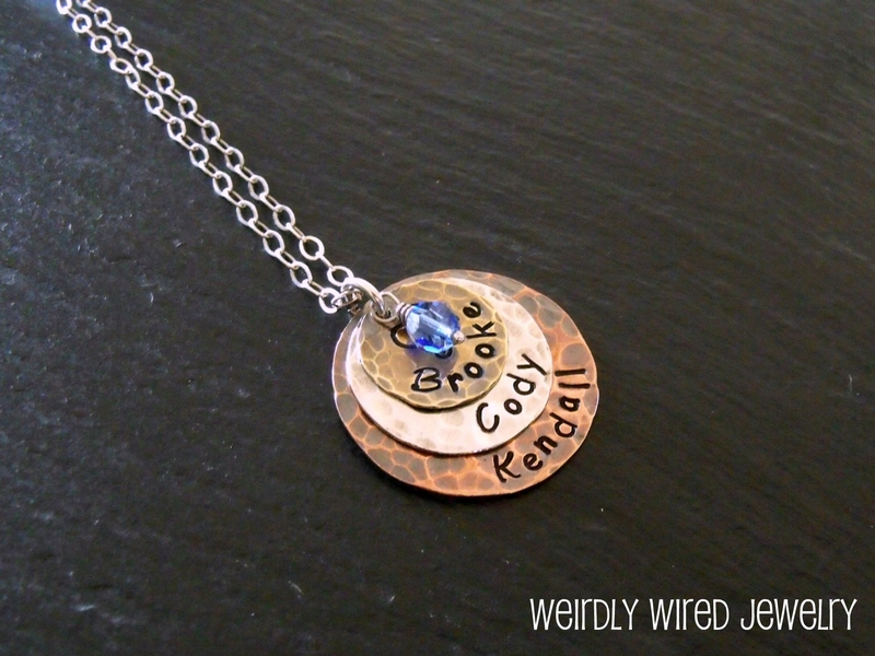 Mixed Metal Mother's Pendant with Swarovski