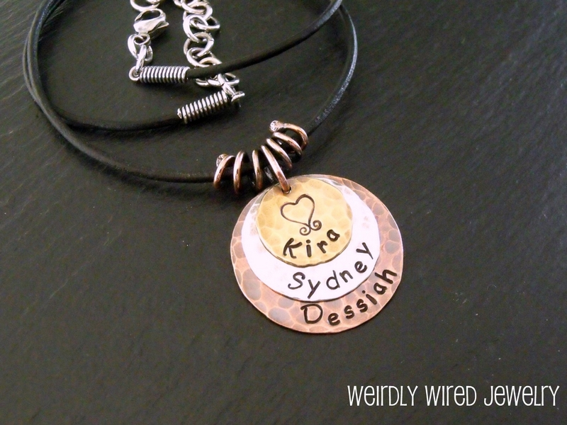 Stamped Mothers Pendant-Sarah