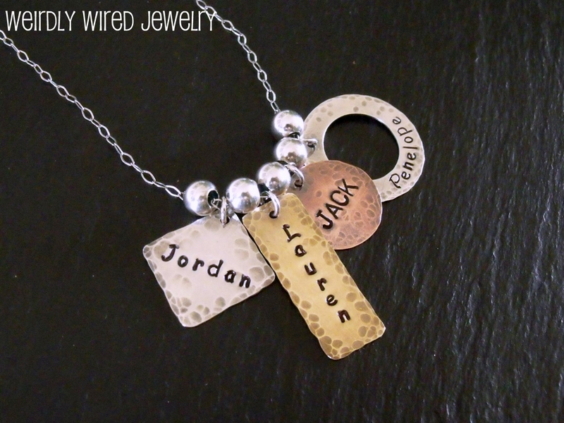 Mixed Metals and Shapes Stamped Grandmother's Necklace