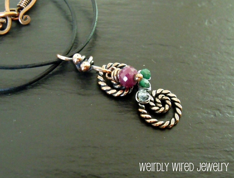 Mother's Birthstone Necklace-Twisted Copper