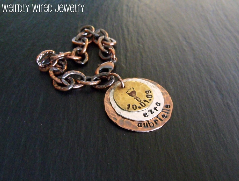 Mother's Bracelet-Stamped Charms