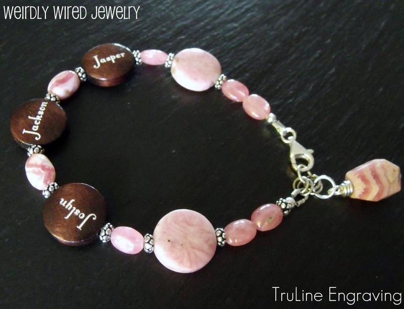 Rhodochrosite Engraved Bracelet