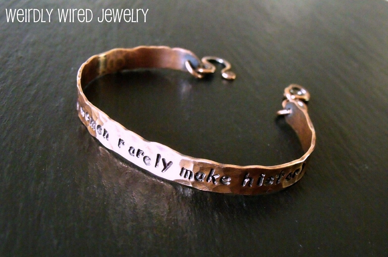 Copper Cuff Bracelet-Stamped