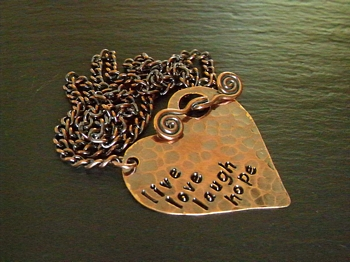 Stamped Focal Heart Necklace