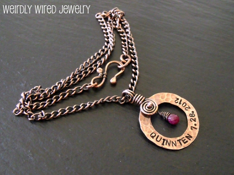 Stamped Copper Washer with Ruby