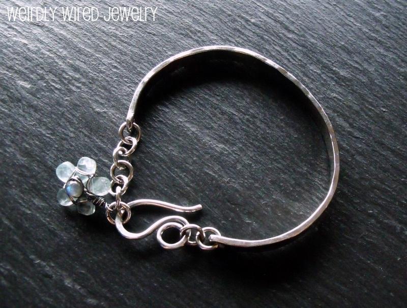 Sterling Cuff Bracelet-Aquamarine Charm