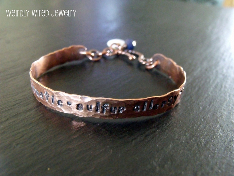 Stamped Medic Alert Copper Cuff