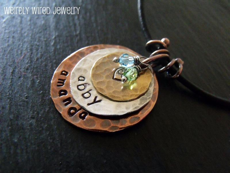 Stamped Necklace Charm with Swarovski and wired bail