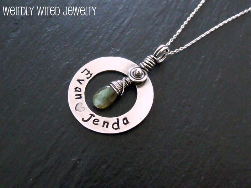 Sterling Washer Pendant with Labradorite