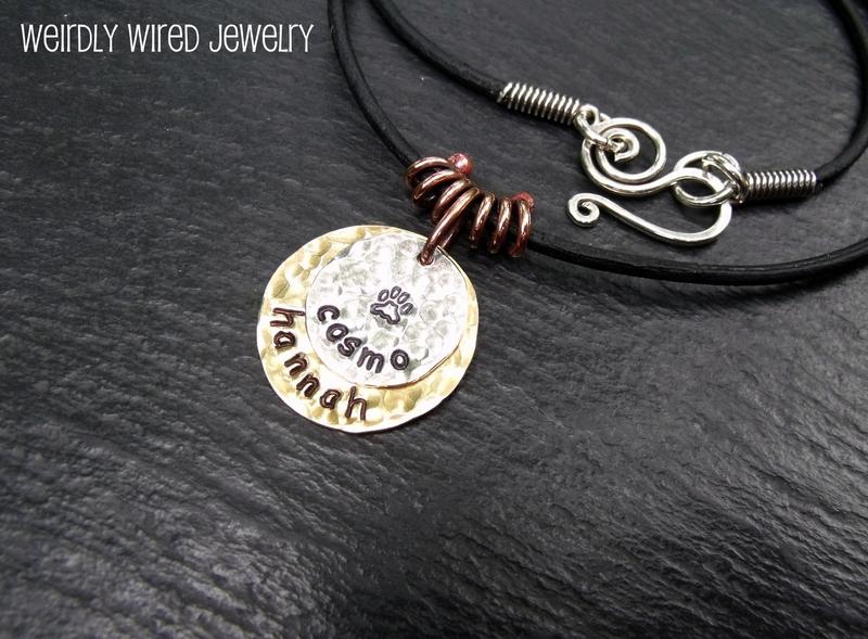 Stamped Sterling & Brass Pendant