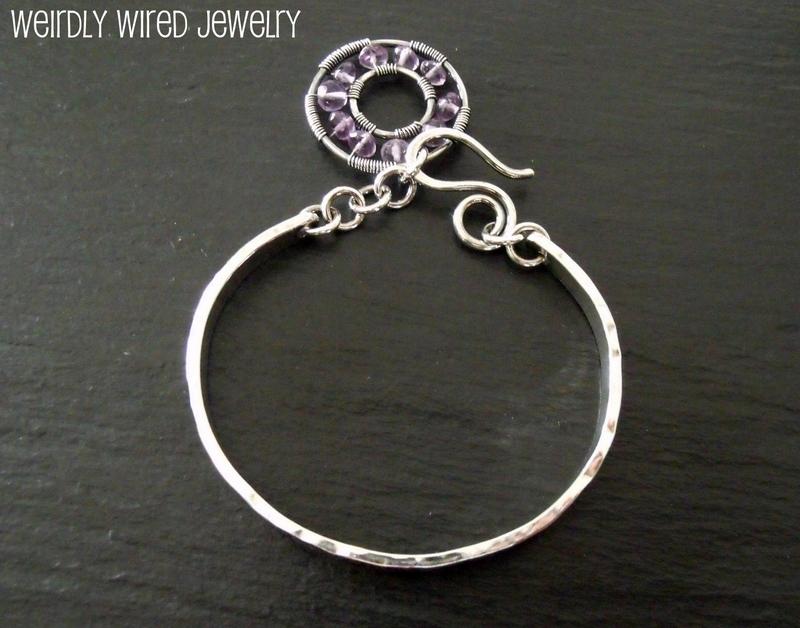 Stamped Sterling Silver Bracelet-Amethyst Charm
