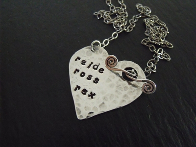 Stamped Sterling Heart Pendant