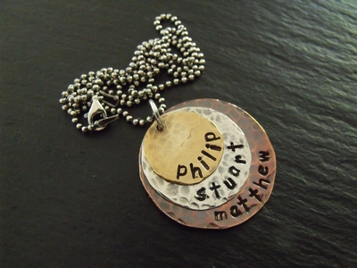 Three Metal Stamped Necklace Charm Pendant