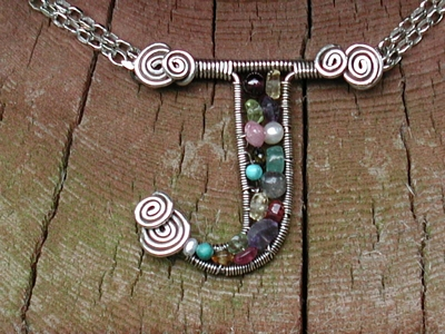J Mixed Gemstone Pendant