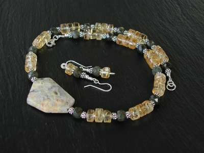 Crazy Lace with Citrine and Labraorite Necklace