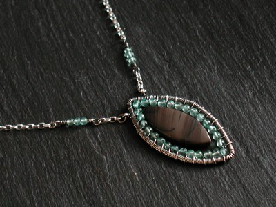 Coffee Jasper and Apatite Necklace
