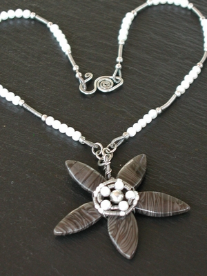Coffee Jasper and Pearl Flower Necklace