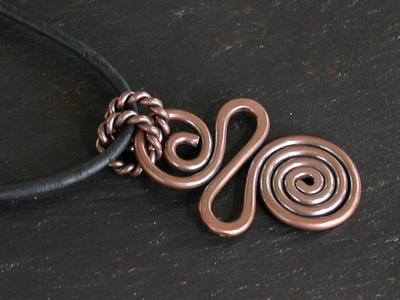 Copper Spiral Free Form Pendant