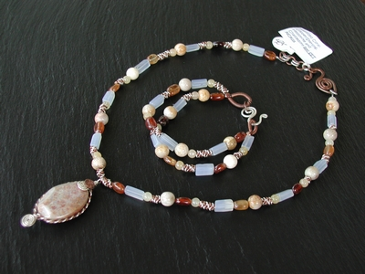 Fossalized Coral Mixed Stone Necklace