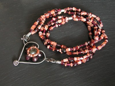 Garnet, Labradorite and Sunstone Heart Necklace