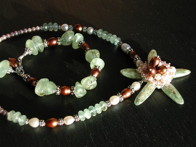 Green Kyanite, Prehnite and FWP Necklace