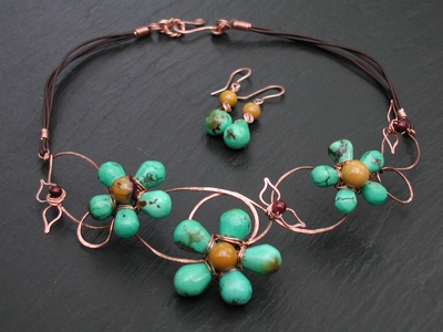Turquoise and Mookiate Vine Necklace